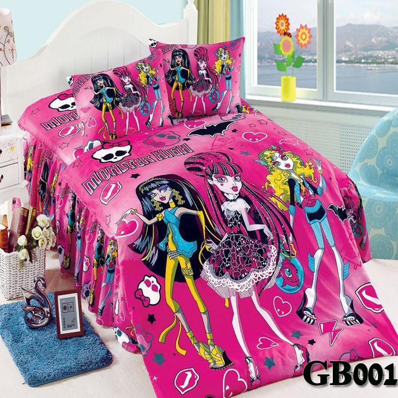 hot selling monster high purple oil pink printing twin full queen size cartoon bedding sets. Black Bedroom Furniture Sets. Home Design Ideas