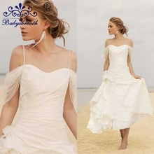 2017 Beach Wedding Dresses Vintage Cheap Tea Lenght Bridal Dresses Simple Summer Jordans Women A Line Sleeveless Wedding Dresses(China (Mainland))