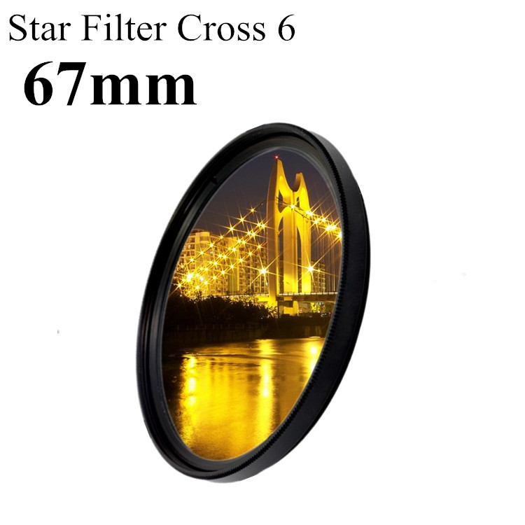 67mm Lens Star Light Filter Cross 6 6x Line 6pt Point To LC-67 For Canon Nikon DSLR Camera Len+Free Shipping Brazil+Tracking NO,(China (Mainland))
