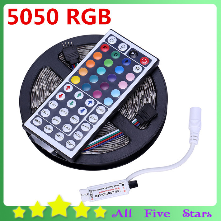 Nonwaterproof 5050 RGB LED Flexible Strip 300LEDs 5050 SMD + 44Key Remote Controller RGB Led Strip Light Free Shipping(China (Mainland))