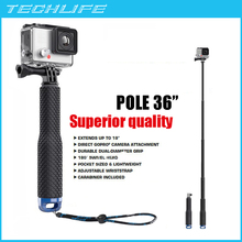19 Inch and 36 Inch Extendable Pole for Gopro Hero 4 3 XiaoYi SJCAM SJ4000 Telescoping Aluminum Monopod Tripods(China (Mainland))