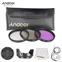 Andoer 49mm 52mm 55mm 58mm 62mm 67mm 72mm 77mm Filter Kit UV + CPL + FLD Filter Lens Set with Other Lens Accessories