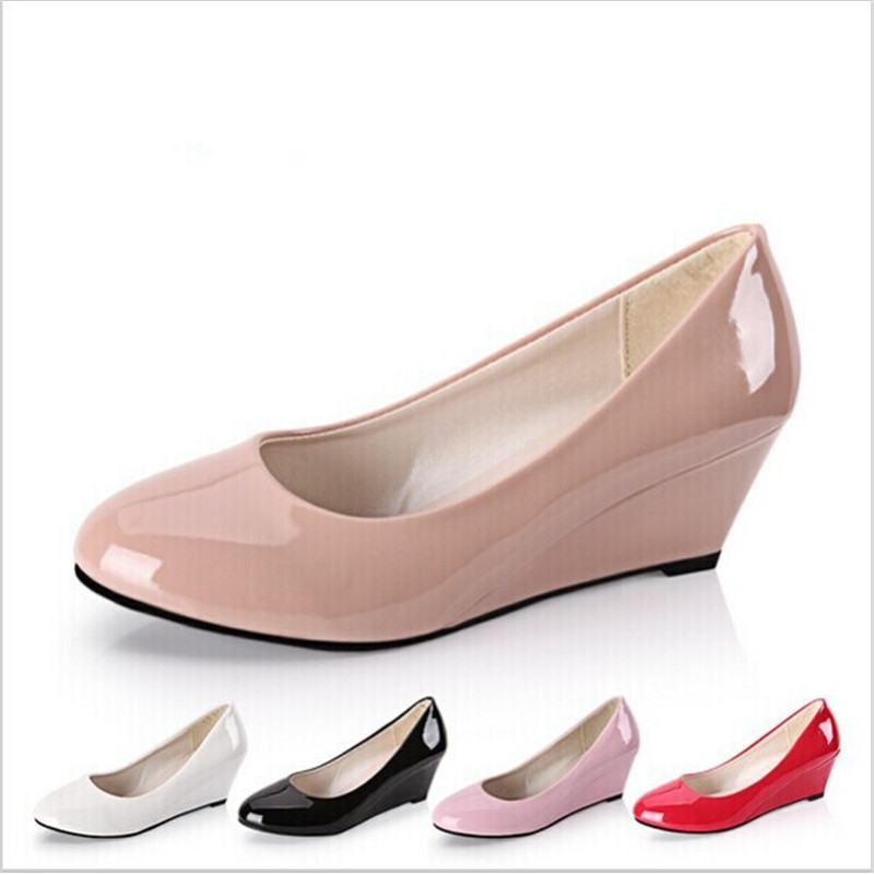 New 2015 Summer Women Wedges Shoes Pointed Toe Patent Leather Nude Work Shoes Casual Women Pumps Wholesale Plus Size 35-40(China (Mainland))