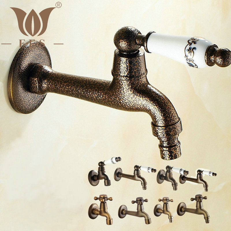 Wall Mounted Bibcock Kitchen Sink Bathroom Basin Tap Single Cold Faucet/Washing Machine Tap Antique Brass/Roman Bronze(China (Mainland))