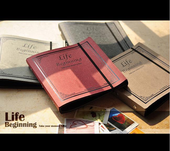 Nostalgic classical bronzing album this DIY paste bind albums kraft paper Scrapbook Albums 20.5*19.5 cm free shipping(China (Mainland))