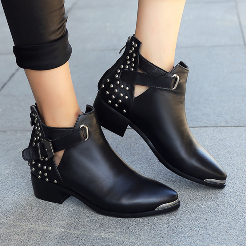 HOT sale popular high quality genuine leather solid unique pointed toe rivets ankle boots for women fashion square heel shoes(China (Mainland))