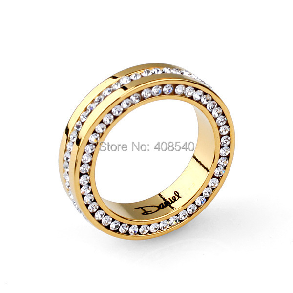 2014 Top Sale Real Gold Plated Italian Lettering with Genuine SWA Austrian Crystal Brand Wedding Rings BR1000-145 Free Shipping(China (Mainland))