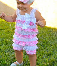 Lace and satin Romper in light pink and white with polka dots for baby girl photo prop, birthday, minnie mouse(China (Mainland))