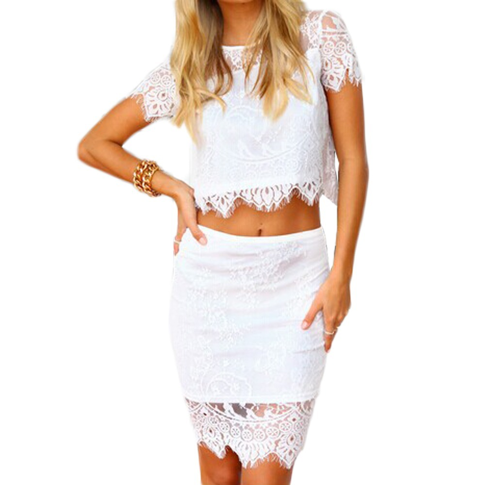 fashion crop top and skirt set casual lace floral pencil skirts crochet 2 clothing