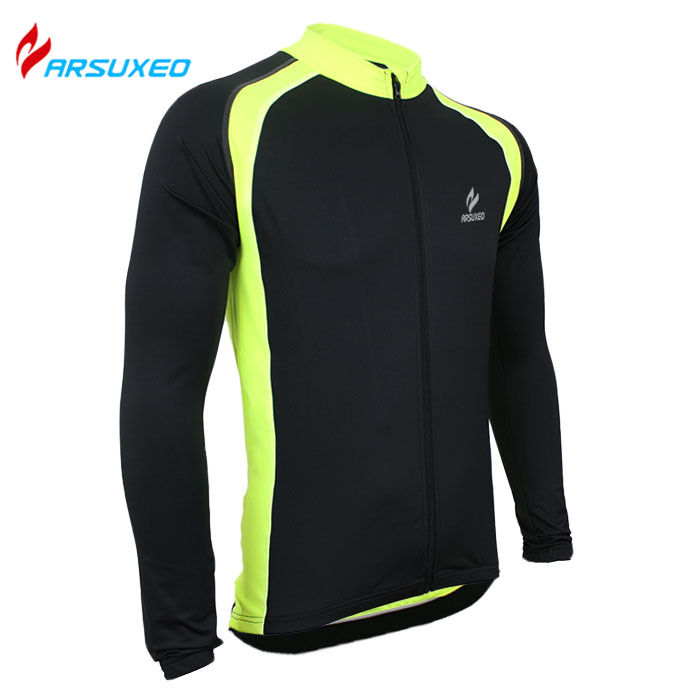 ARSUXEO Men's Long Sleeve Breathable Clothing Summer Cycling Bike Bicycle Jersey Sportswear Quick Dry Outdoor Sports Jersey(China (Mainland))