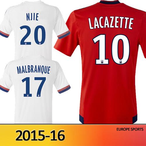 maillot Lyon jersey 2015 2016 France Olympique Lyonnais shirt 15 16 football shirt Lacazette home white away red Soccer jerseys(China (Mainland))
