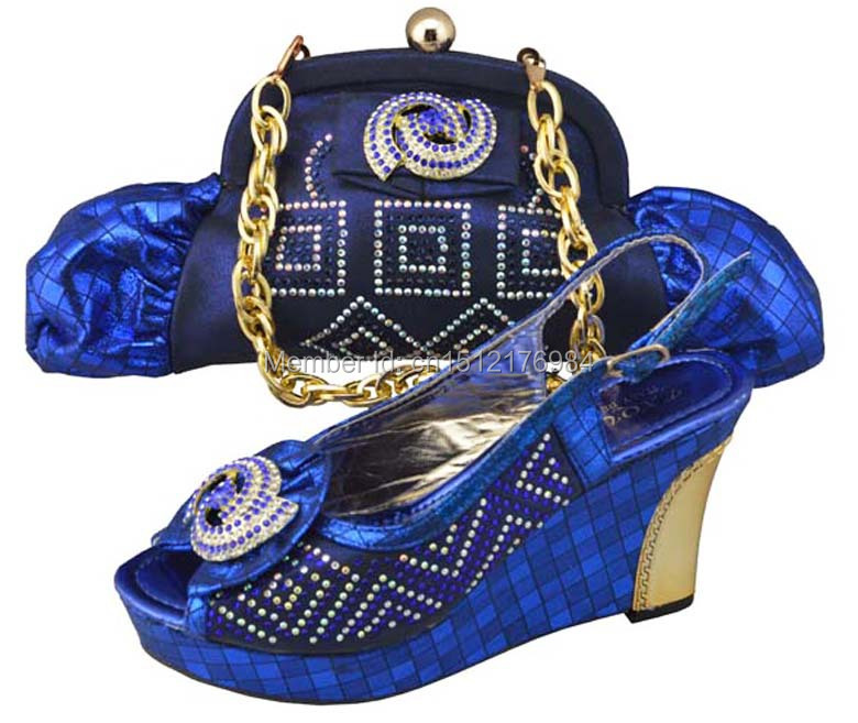 open toe heels Italian fashion womens fine shining diamond wedge (platform) shoes and bag set 2014 free shipping JB01 blue<br><br>Aliexpress