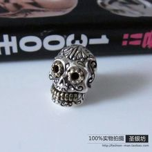 Popular silver 925 pure silver cool skull personality male stud earring punk(China (Mainland))