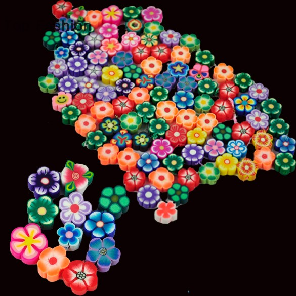 100 PCS Clay Beads DIY Slices Mixed Color Fimo Polymer Clay Animal/Butterfly/ Flower/ Fruit DIY necklace(China (Mainland))