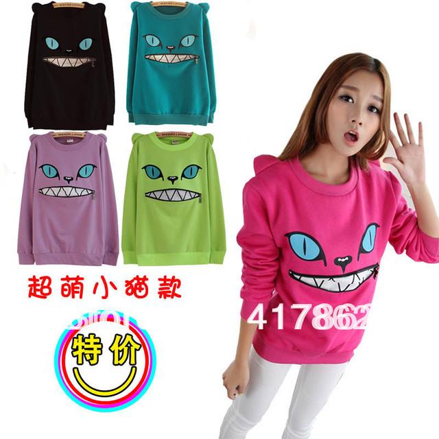 Free shipping HARAJUKU cat demon zipper three-dimensional o-neck fleece sweatshirt female outerwear