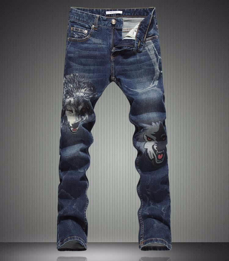 Hot sale  New Arrival Men Wolf Print Jeans Fashion Slim Long Trousers