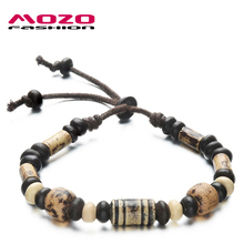 Fashion Vintage Jewelry Unisex Clay Bracelets Handmade Beaded Hand Rope Ceramic Bracelet For Women Men Adjustable Length MBS004(China (Mainland))
