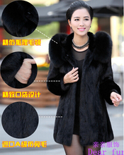 New 2014 Luxury faux Rabbit fur coat Women winter coat Fashion Hooded FoxFur Collar Medium-long lady Overcoat Elegant Women coat(China (Mainland))