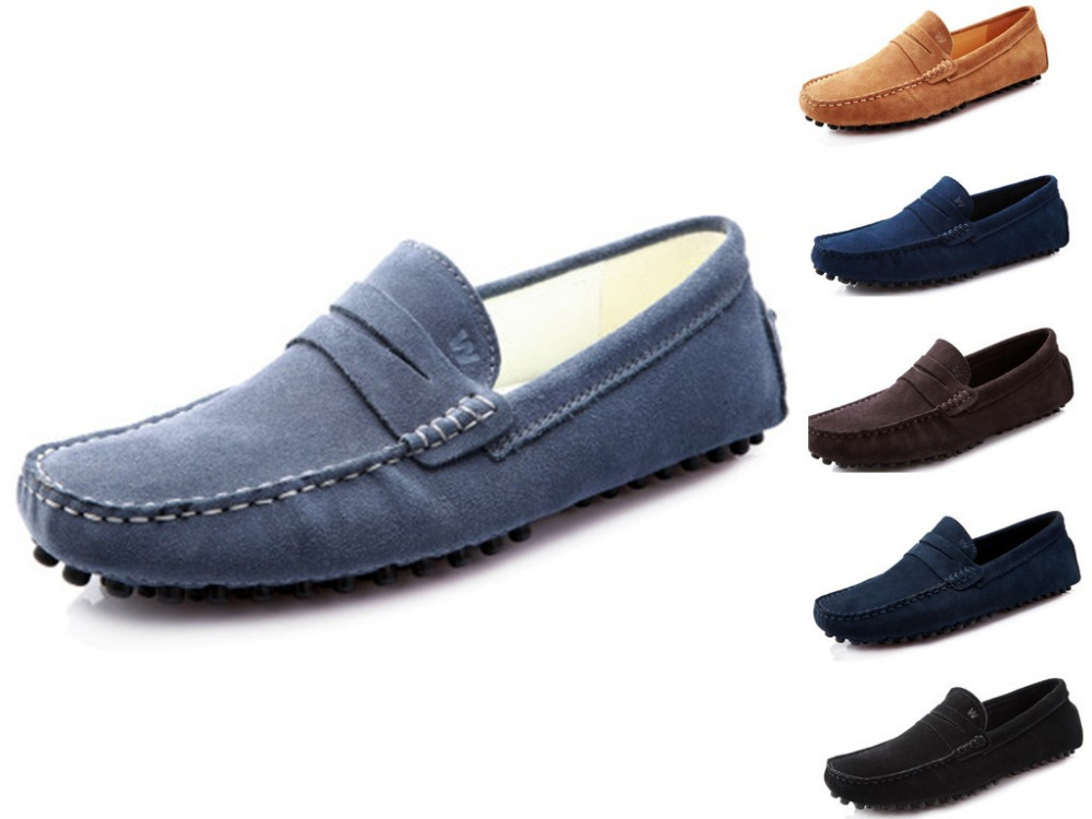39-46 New Big Size Men Moccasins Shoes Genuine Leather Loafers Casual Men Shoes Slip On Men Flats Suede Shoes Gommino Driving(China (Mainland))