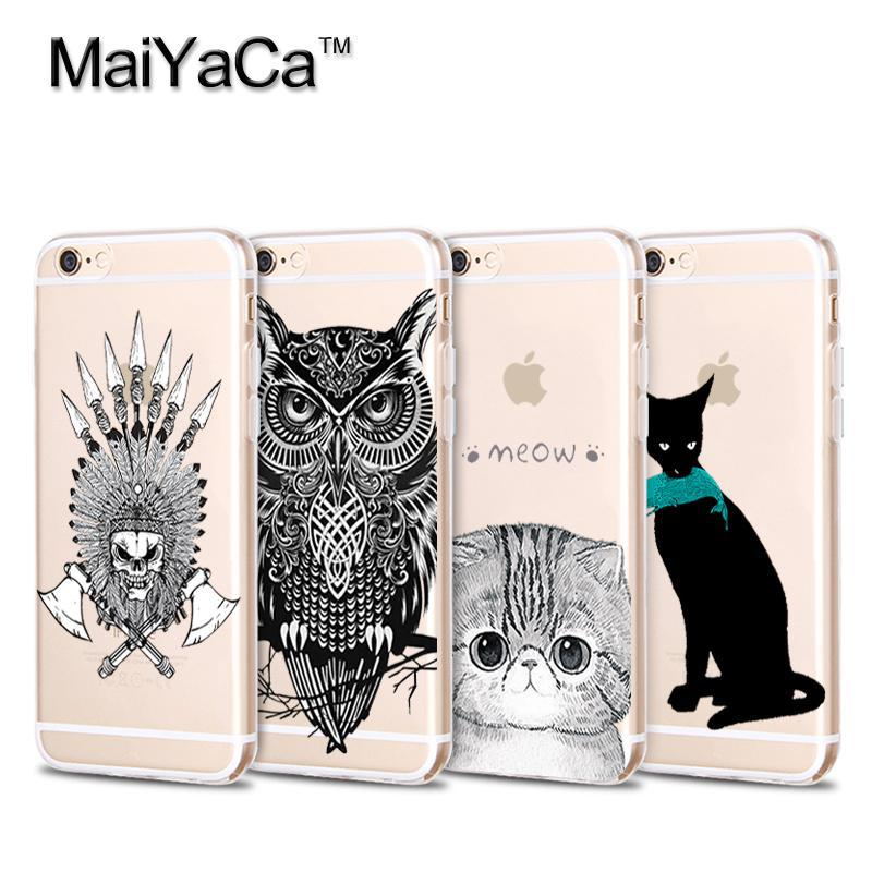 Phone Case For iPhone 4s 5s 6s 7 plus Cartoon Owl and Soft Transparent TPU Phone Case Accessories Cover case(China (Mainland))