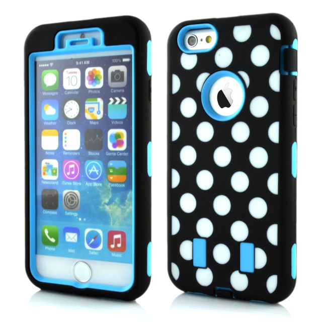 Polka Dot pattern of Armor cell phone case For iPhone 6 plus fit 5.5 water/dirt/shock proof(China (Mainland))