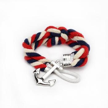 Ювелирные изделия якорь стиль сплав кожа браслет винтажный браслеты плетёный браслет ...