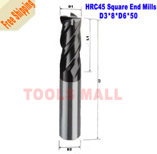 -3mm Tungsten Carbide Square End mills HRC45 4Flutes Milling cutters CNC Spiral Router bits tools - Tools Mall store