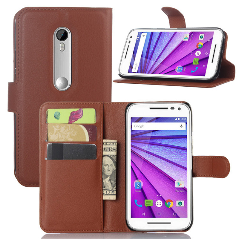2015 New Luxury Wallet Flip PU Leather Case Cover for Motorola Moto G3 Case Cell Phone Case for Motorola Moto G3 Cover Phone Bag(China (Mainland))