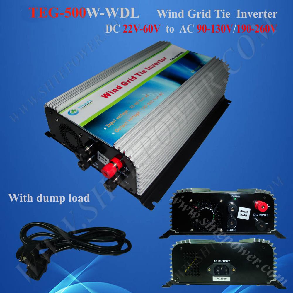 Grid tie inverter 48V 500w, 500W wind power grid tie inverter, 22-60V DC to 190-260V AC wind invertor(China (Mainland))