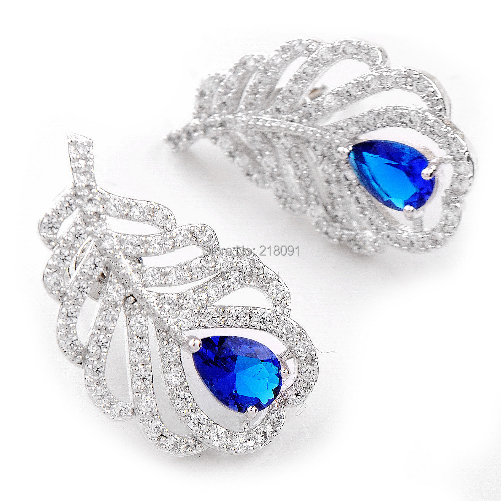 Top Zircon Exquisite Blue Sapphire Earrings Lady's 18K White Gold Filled Stud Ear Earrings For Women Gift 1 pair(China (Mainland))