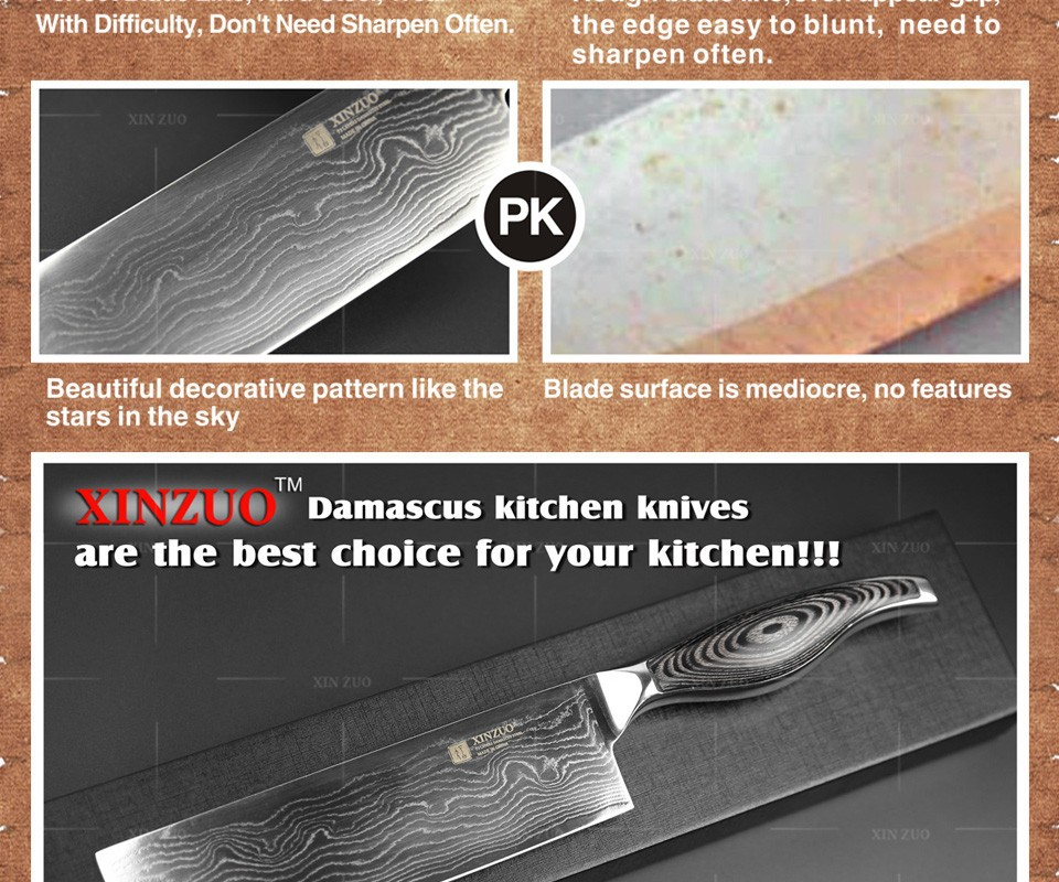 """Buy 7"""" inches women kicthen knife High quality 73 layers Japanese VG10 Damascus steel kitchen chef knife sharp handle free shipping cheap"""