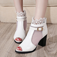 2016 Summer Sweet Women Sandal High Quality Fashion Medium Heel Sandals Casual Lace Candy Color Ladies Women Shoes