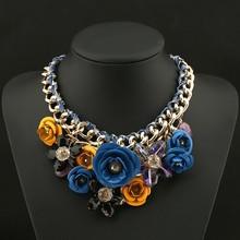 PINK Necklaces Pendants Hot Sale Brand ZA Big Resin Crystal Flower Luxury Vintage Choker Statement Necklace