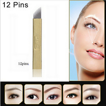 50PCS PCD Permanent Makeup Manual Eyebrow Tattoo Bevel Blades 12 Needles(China (Mainland))