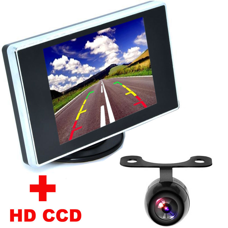 """Univesal Nightvision HD CCD Car Rear View Camera + 3.5"""" Color LCD Car Video Monitor backup Camera 2 in1 Auto Parking Assistance(China (Mainland))"""