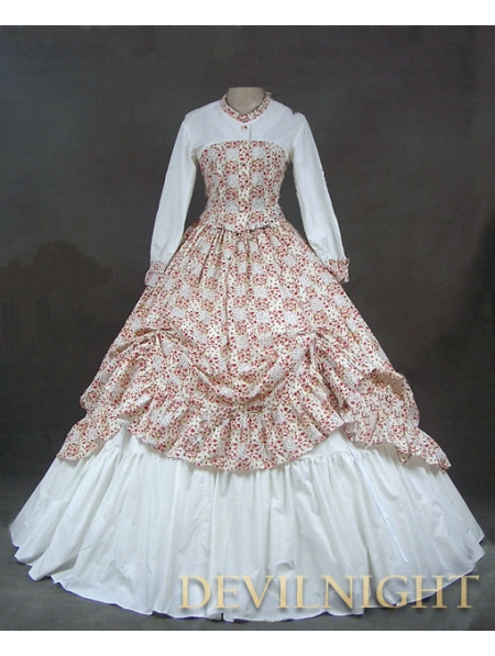White and Floral Pattern Classic Rococo Victorian DressОдежда и ак�е��уары<br><br><br>Aliexpress