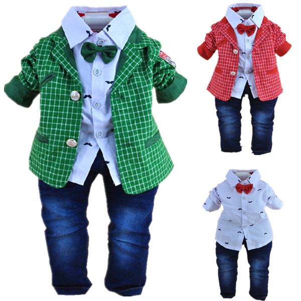 1-2Y baby boys plaid gentlemen clothing set 3pcs baby boy clothing infant vestidos clothes set kids clothes sets(China (Mainland))