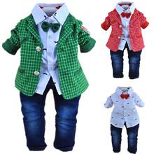 1-2Y baby boys plaid gentlemen clothing set 3pcs baby boy clothing infant vestidos clothes set kids clothes sets(China (Mainland))