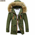 2016 Fall Winter Men s Faux Fur Hooded Military Style Parkas Army Green Middle Long Warm
