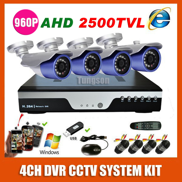 HD Home 4CH AHD 1.40MP 2500TVL Waterproof CCTV System Kit Outdoor Video Surveillance 4 Channel 1280*960P Security Camera System(China (Mainland))