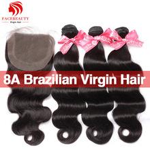 8А Необработанные Виргинских Бразильских Волос С Закрытием 4 ШТ. Лот Lace Closure С Связки, Бразильский Объемная Волна С Закрытием волос(China (Mainland))