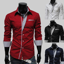 2015 new fashion Casual Men Shirts Long Sleeve Autumn great Brand Cotton Slim High Quality shirt for men size M-XXXL