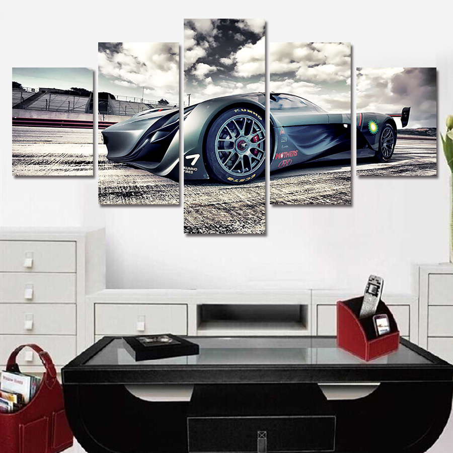 2016 5 Piece picture Hot Sell Abstract Cool Cars Modern Home Wall Decor painting Canvas Art HD Print Painting for living room