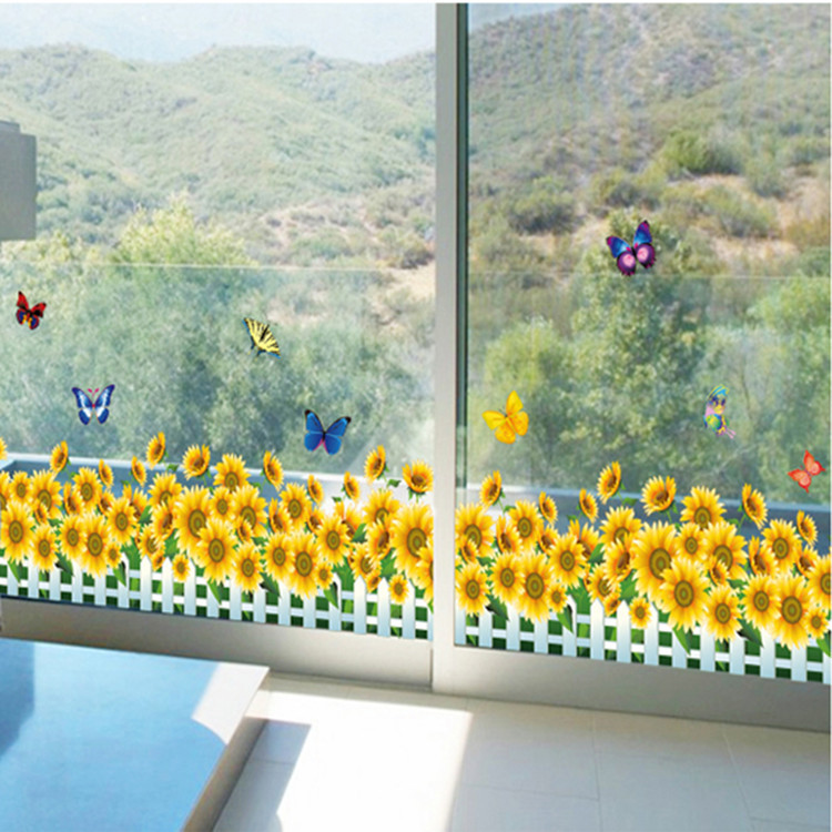 Walled decorative baseboard wall stickers sunflower stickers bedroom bedside removable sticker AY7210(China (Mainland))