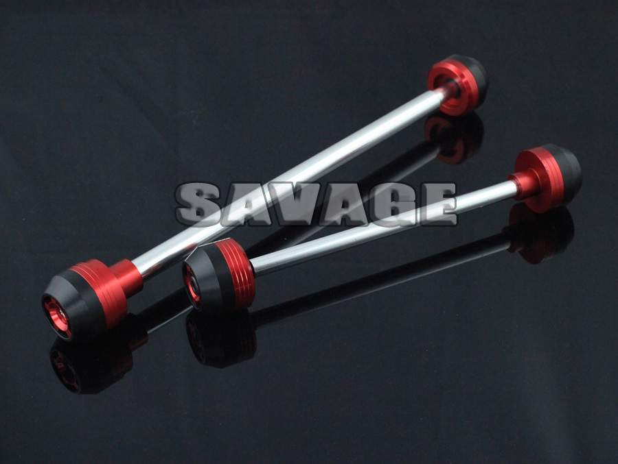 For BMW F800R 2009-2014 Red CNC Aluminum Front & Rear Axle Fork Crash Sliders Wheel Protector