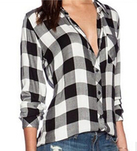 Women British Style Plaid Blouses Lapel Long Sleeve Check Shirts autumn cozy casual Tops 63(China (Mainland))