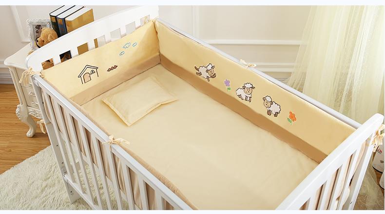 6Pcs Crib Baby Bedding Set for Girl Boy Newborn Baby Bed Linens Organic Cotton Cartoon Bumpers Sheet Pillow Set(China (Mainland))