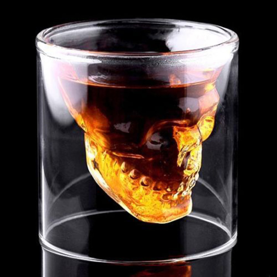High Quality 3 sizes Designer Skull Head Shot Glass Fun Doomed Transparent Party Doom Drinkware(China (Mainland))
