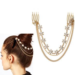 Sheegior 2014 New Designer Jewelry Fashion pearl flower tassel chains glower hair combs Women Hair Accessory Free shipping !