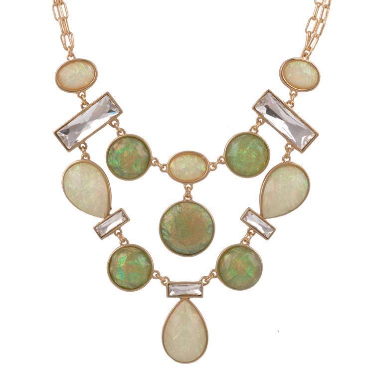 Fashion Women Accessories Luxury Shiny Gold Plated Big Simulated Gemstone Pendant Elegant Statement Choker Necklaces Jewelry(China (Mainland))